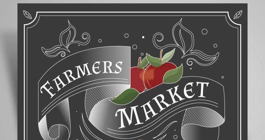 Retro Farmers Market Vector Flyer Template Ilustrátor EPS SVG