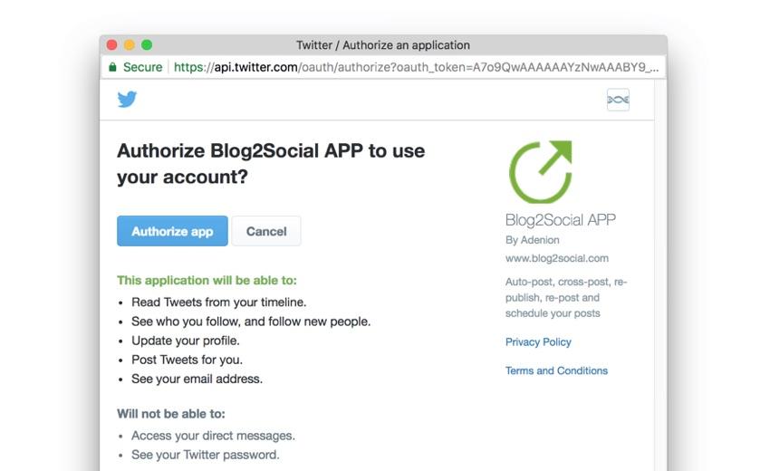 Blog2Social: Autorizar el acceso social