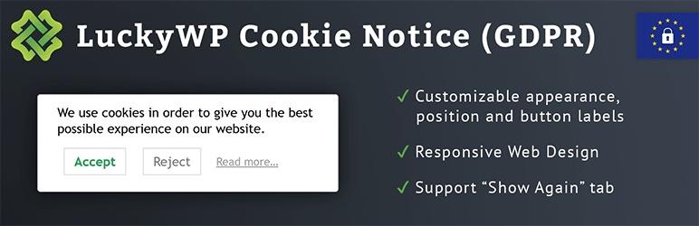 Výstražný doplnok LuckyWP pre súbory cookie