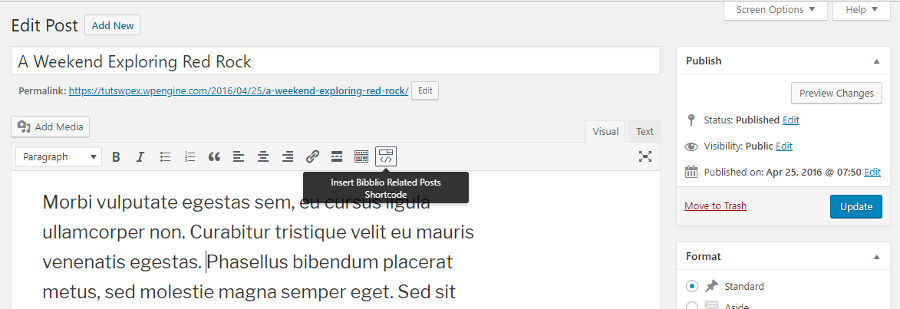 Publicaciones relacionadas para WordPress por Bibblio Shortcodes