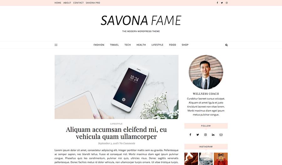 Tema de WordPress gratuito Savona Fame