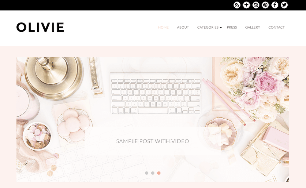 Tema de Olivie Beauty Blog WordPress