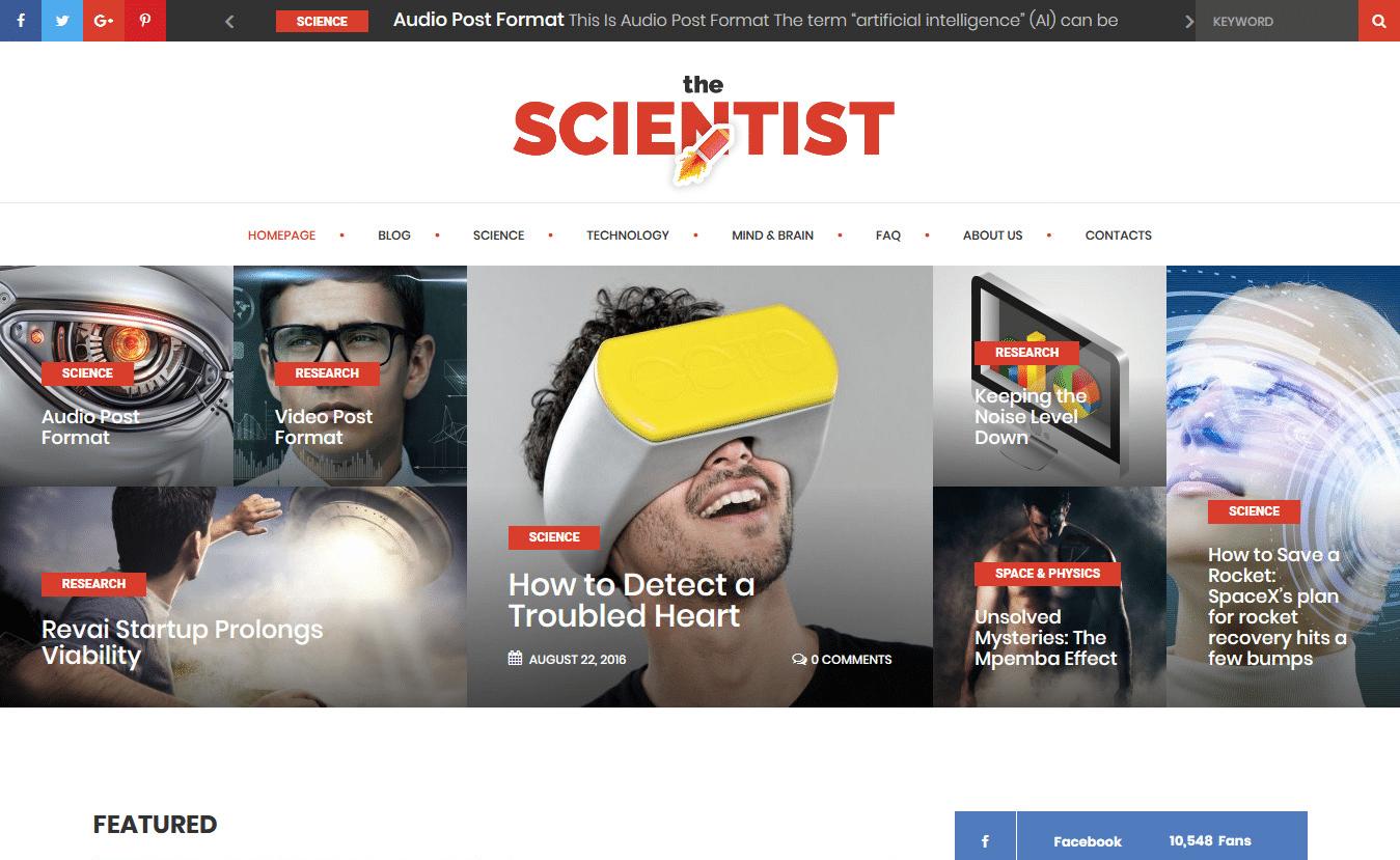 Viac ako 10 najlepších prémiových tém WordPress pre vedu 2