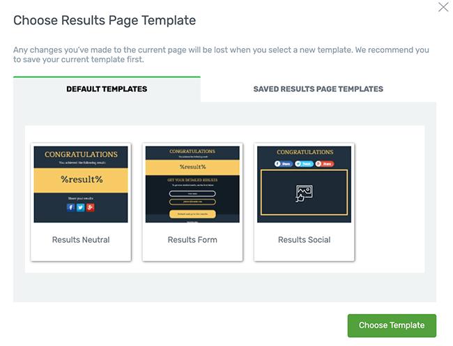 Elija una página de plantilla de resultados para su cuestionario
