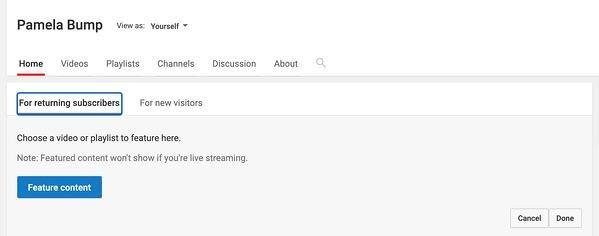 Ställ in utvalt innehåll på hemsidan på din Youtube-kanal.