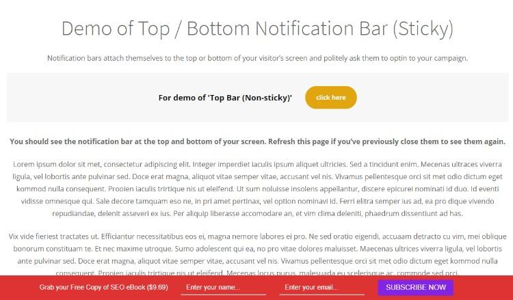 Kontrola MailOptin: panel oznámení