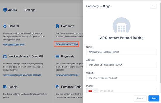 Haga clic en Configuración de la empresa