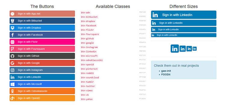 Sociálne tlačidlá pre Bootstrap: tlačidlá sociálneho prihlásenia vyrobené v čisto CSS na základe Bootstrap a Font Awesome