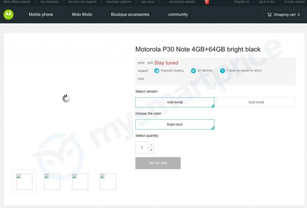 Página de producto Moto Rola P30 Note