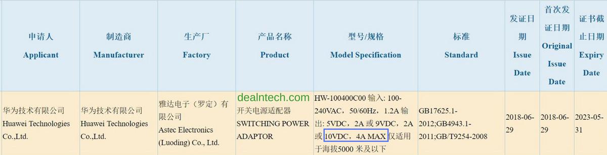 El adaptador de carga rápida de 40 W de próxima generación Huawei Super Charge apareció en la certificación 3C