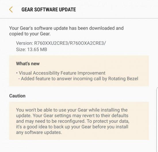 Actualización de Samsung Gear S3