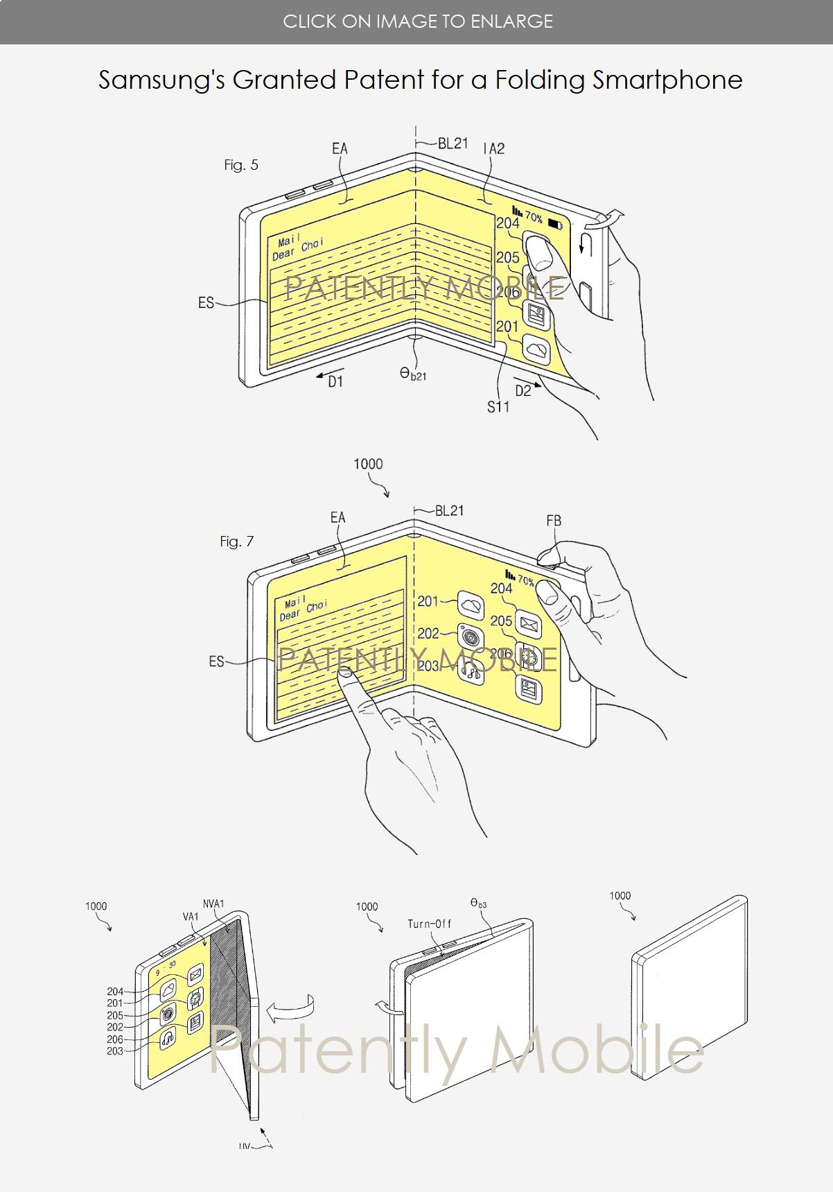 Patente de teléfono inteligente plegable doble Samsung