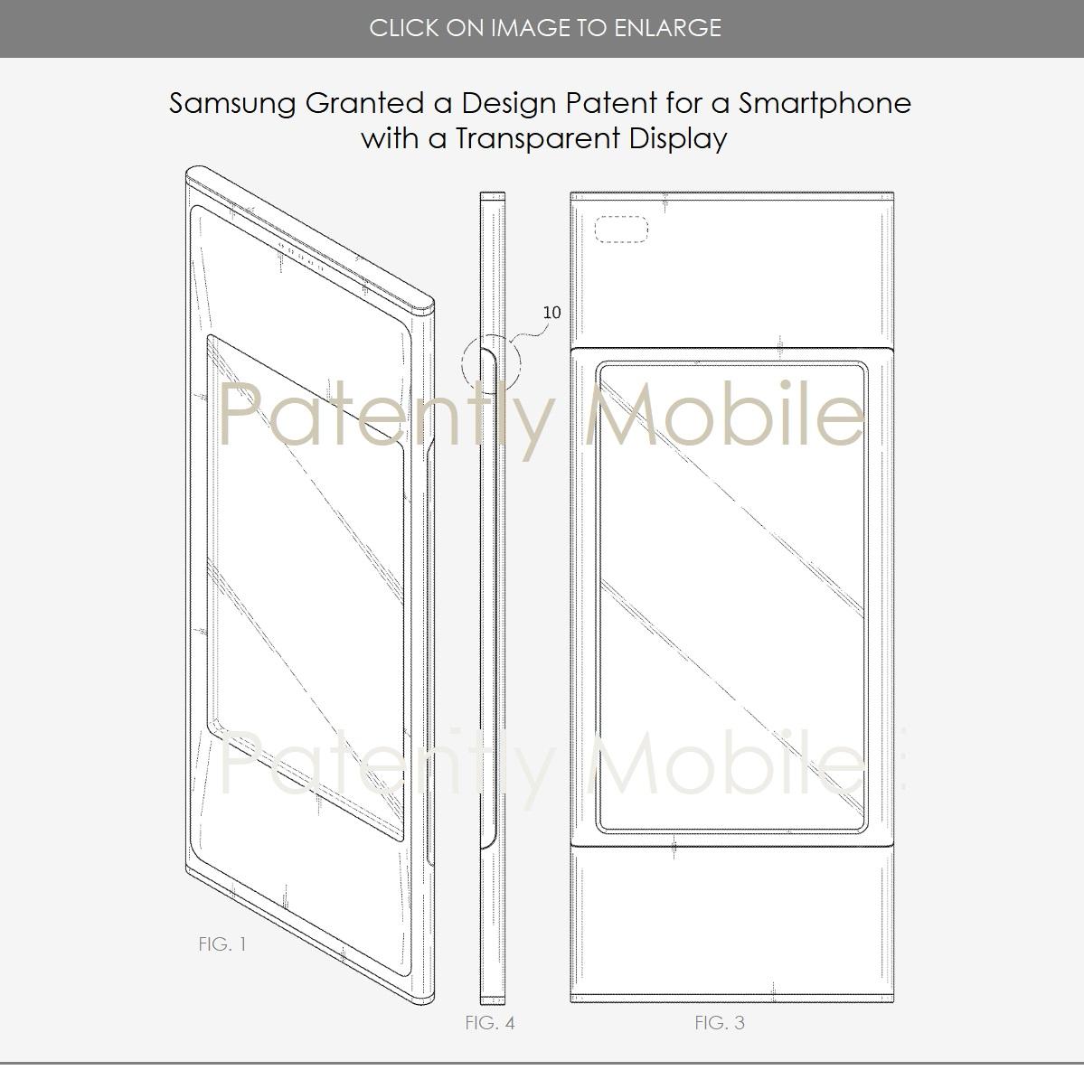 Patente para smartphone con pantalla transparente Samsung