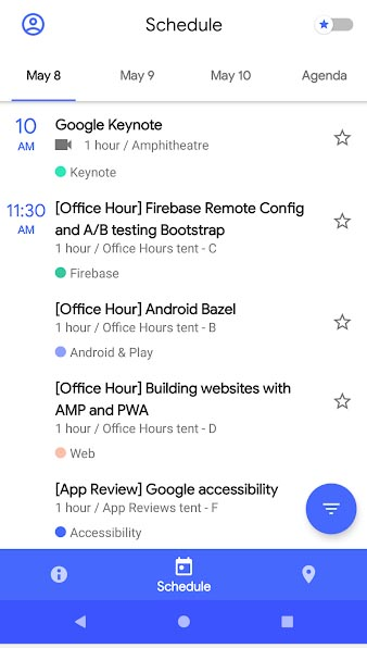 Aplicación de conferencia Google I / O 2018