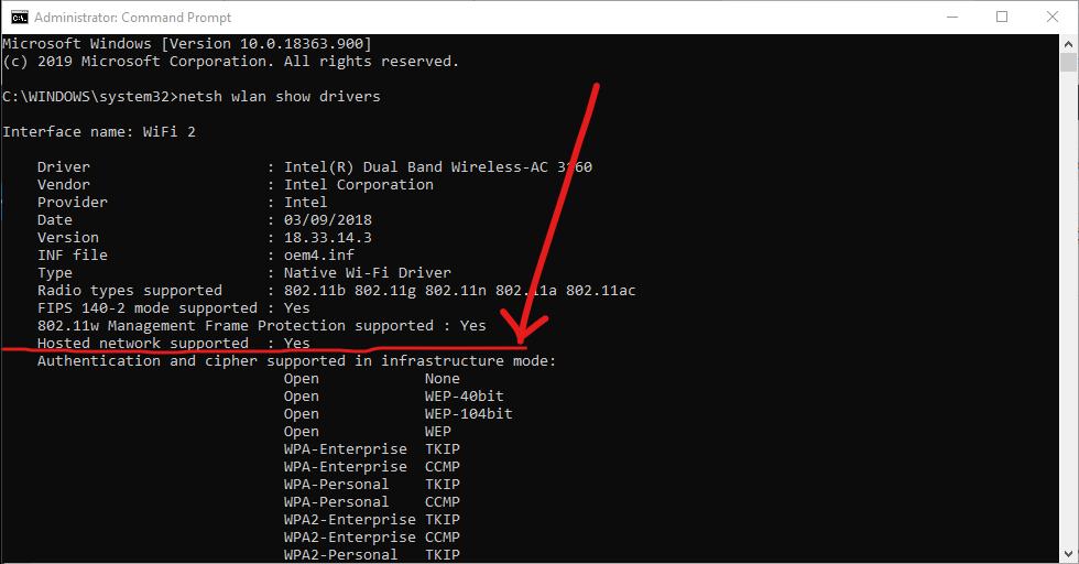 Compruebe si la red alojada es compatible con Windows 10 CMD