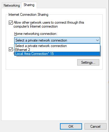 Seleccione la conexión de red para compartir - Windows