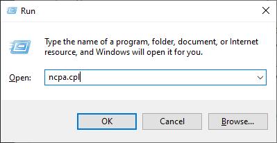 Windows: abra la ventana de conexiones de red desde el cuadro de comando Ejecutar