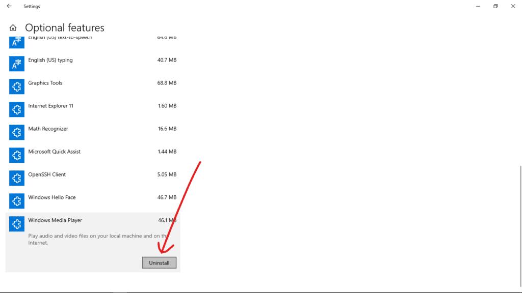 Desinstalar Windows Media Player