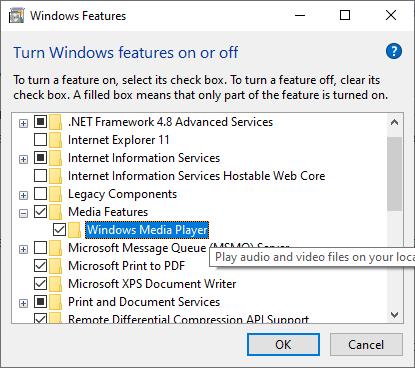 Deshabilitar Windows Media Player en las características de Windows