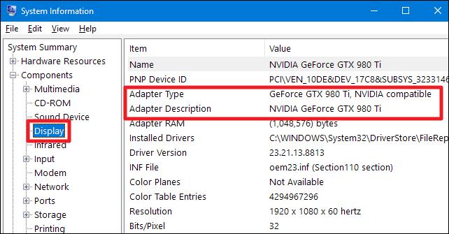Encuentre la información de su tarjeta gráfica en una PC con Windows