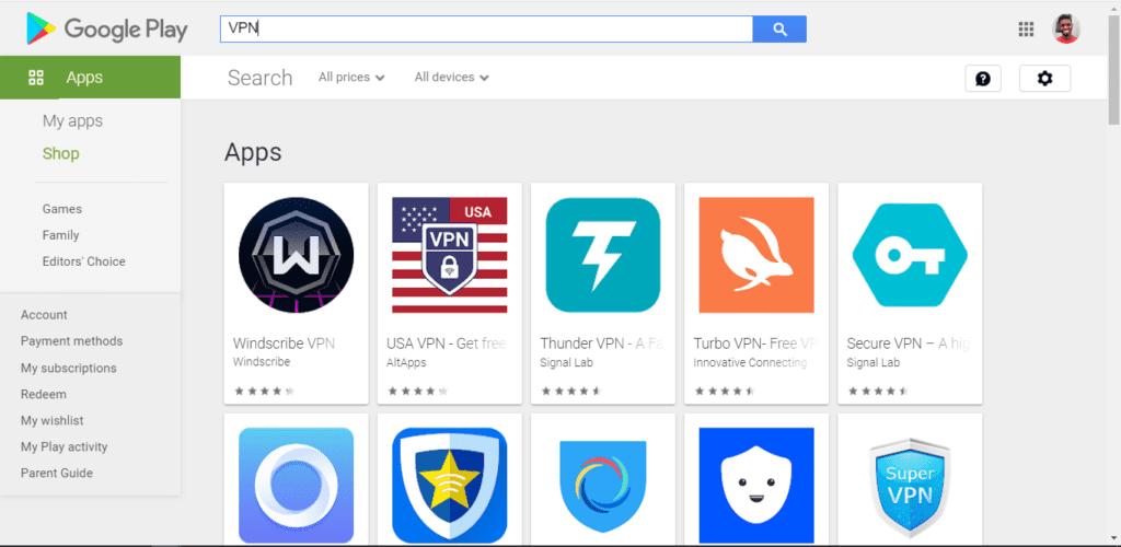 Instalar la aplicación VPN de Google Play Store