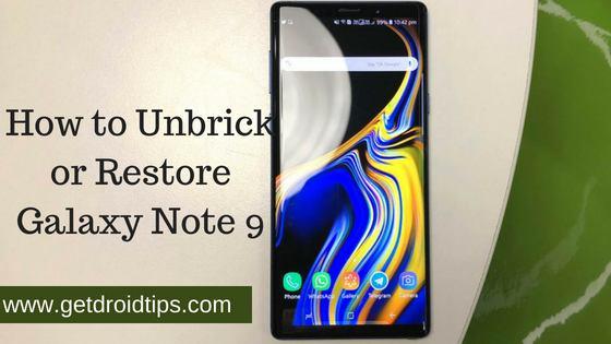 Cómo desbloquear o restaurar Galaxy Note 9 de nuevo a stock (variante N960)