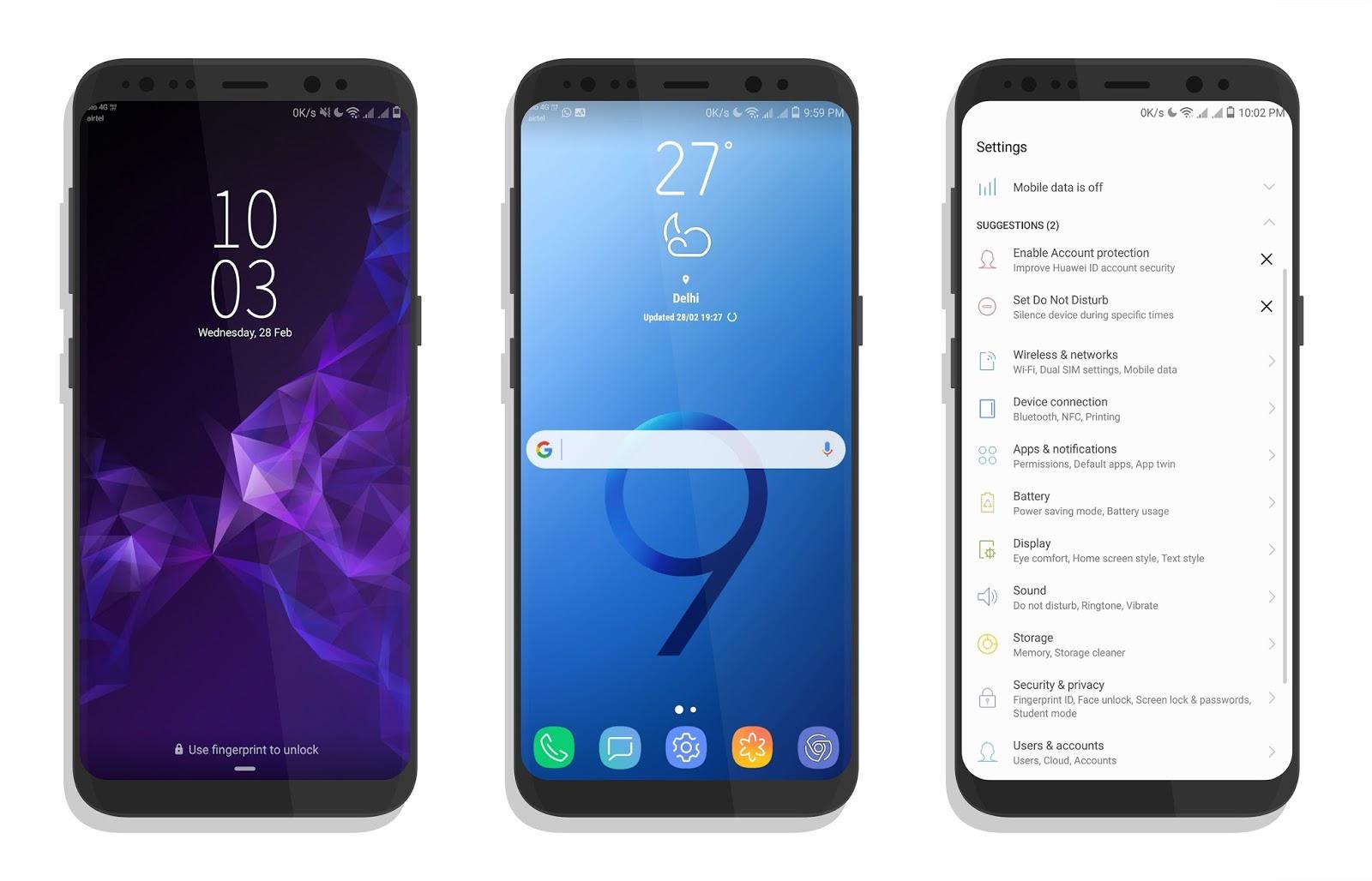 Tema de Samsung Galaxy S9 para EMUI 5