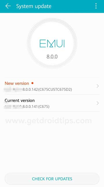 Comprobación de actualización de software de Huawei