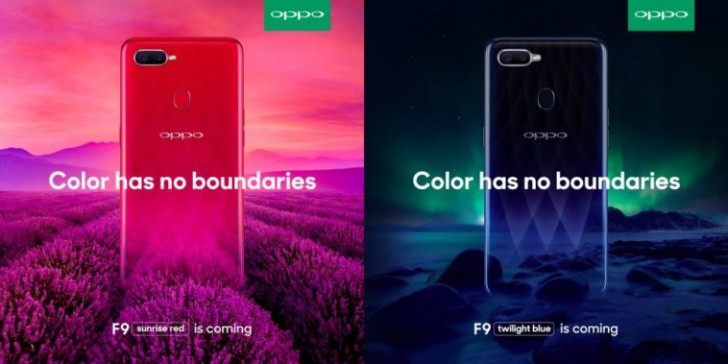 El póster oficial de Oppo F9 y la imagen práctica aparecen antes del evento de lanzamiento