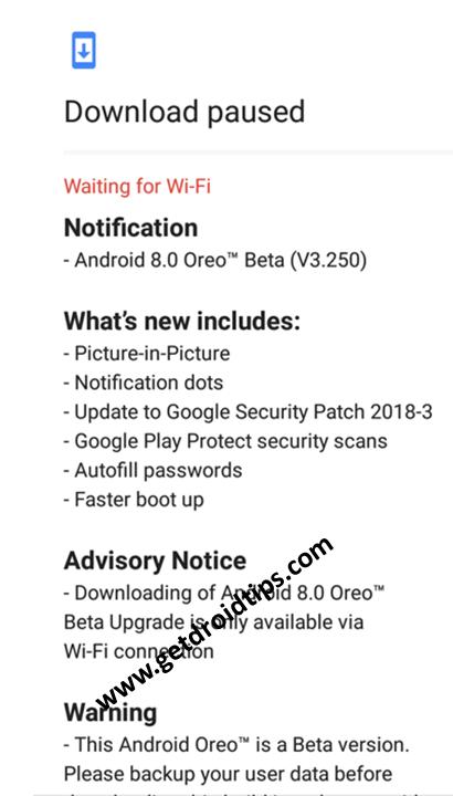 Actualización de Nokia 3 Oreo Beta v3.250
