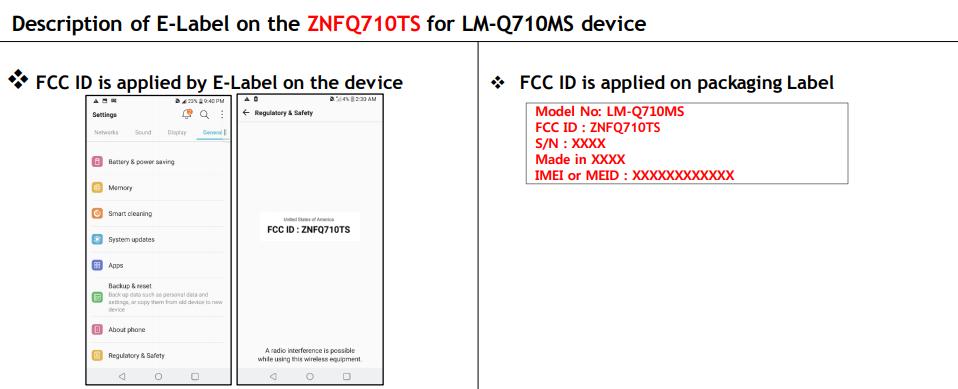 Certificación LG Q7 de FCC