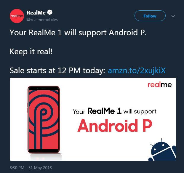 Oppo RealMe Android P Actualización