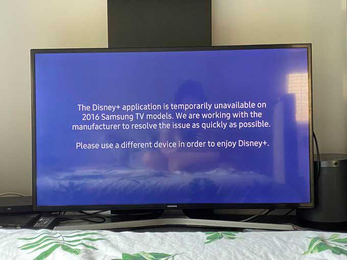 La aplicación Disney + no está disponible temporalmente en los televisores Samsung a partir de 2016
