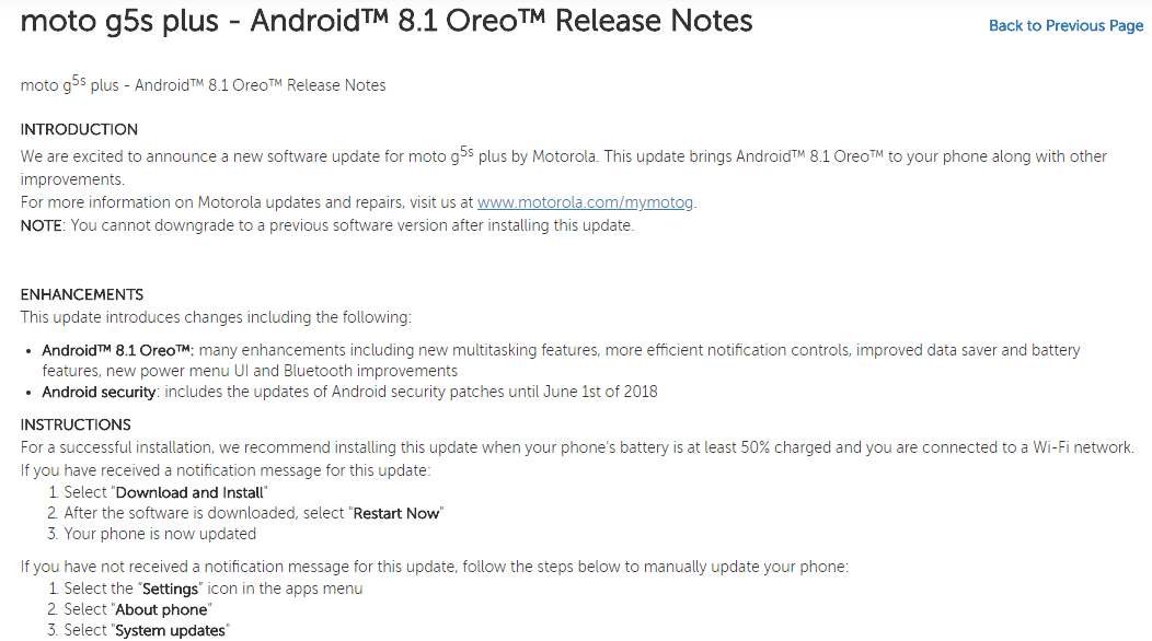 Moto G5s Plus Android 8.1 Oreo