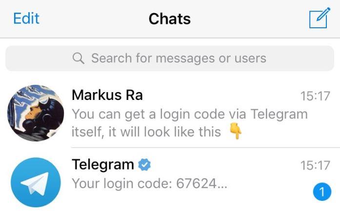 código de inicio de sesión de telegrama