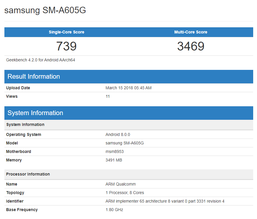 Samsung Galaxy A6 y A6 Plus se encuentran en Geekbench con la variante SM-A600FN y SM-A605G