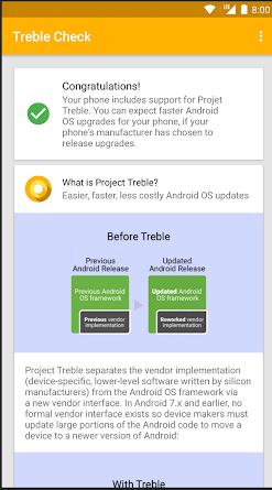 Teléfono inteligente compatible con Project Treble