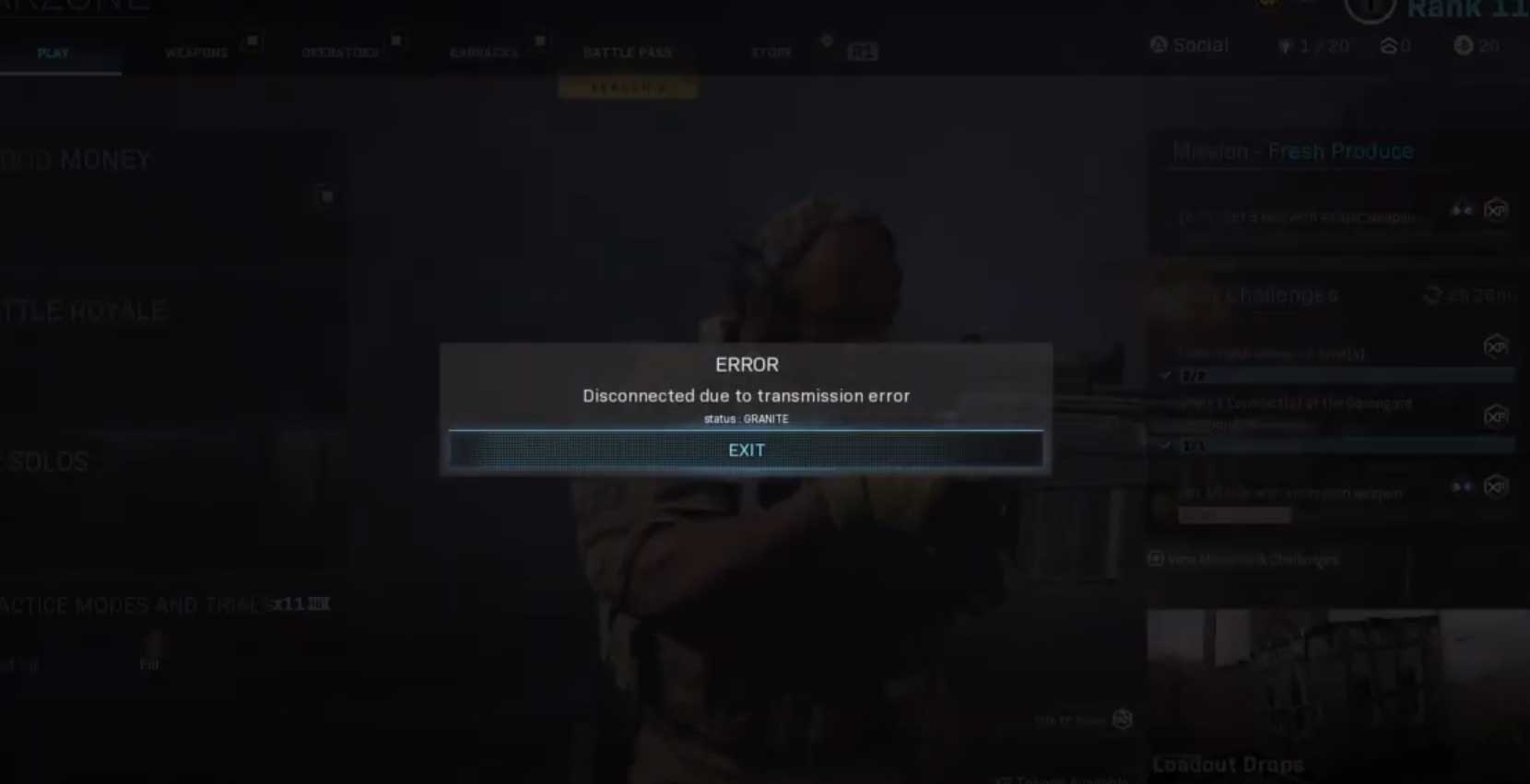 Disconnected due to Transmission Error