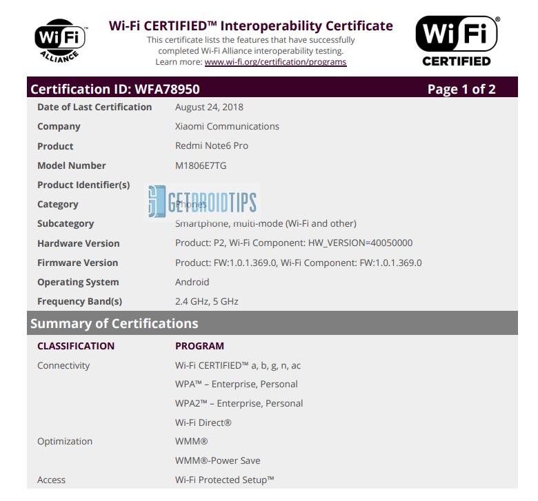 Redmi Note 6 Pro recibe certificación de Wi-Fi