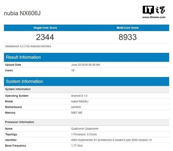 ZTE Nubia Z18 visto en Geekbench, revela especificaciones