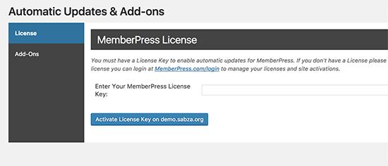 Clave de licencia de MemberPress