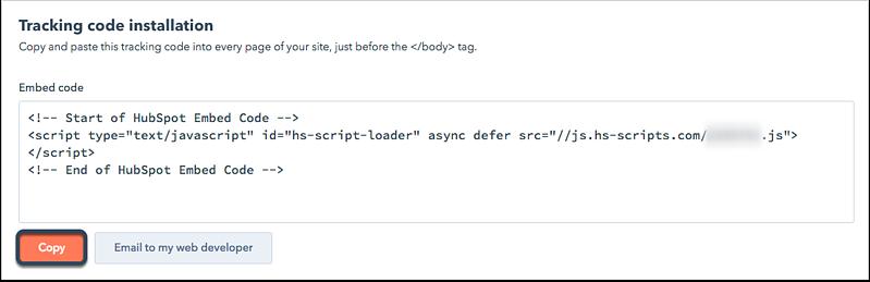 Secuencia de comandos de instalación del código de seguimiento para HubSpot