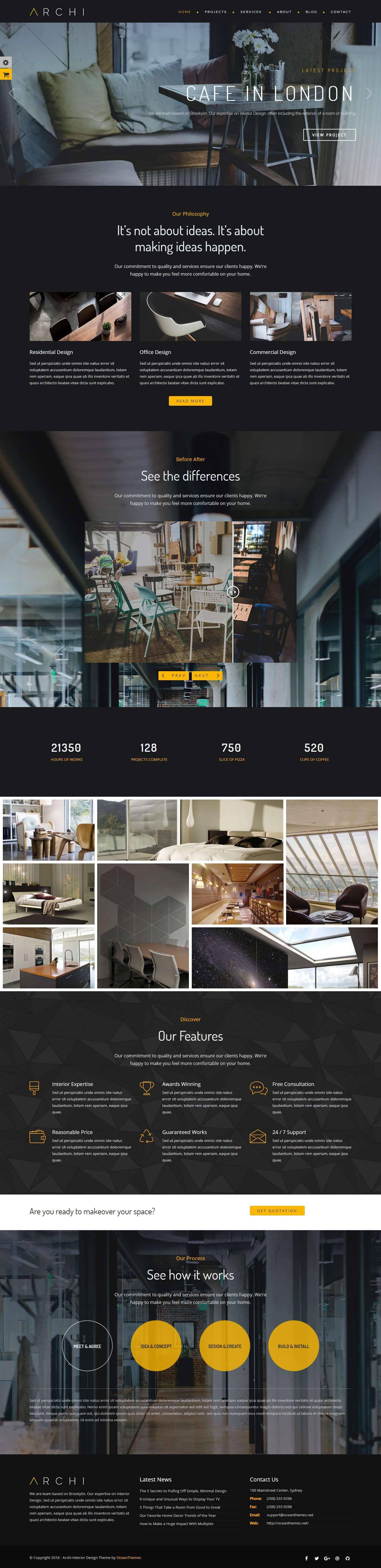Archi - Mejor tema de WordPress para diseño de interiores premium