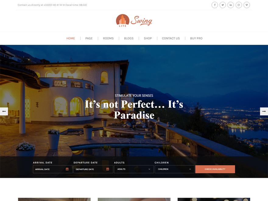 Swing Lite: los mejores temas gratuitos de WordPress para albergue y resort (plantillas de hostelería)