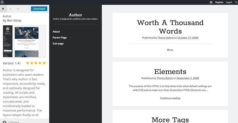 El tema de WordPress del autor