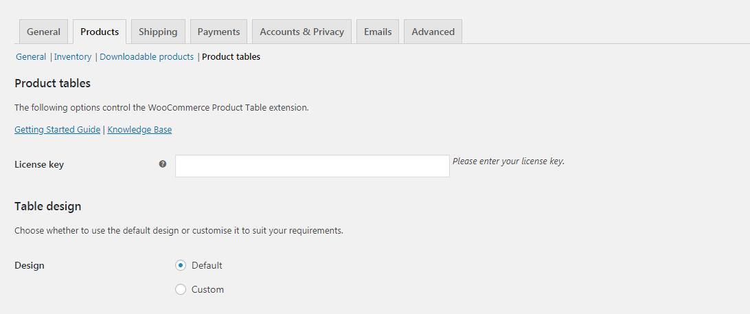 Configuración de la tabla de productos de WooCommerce