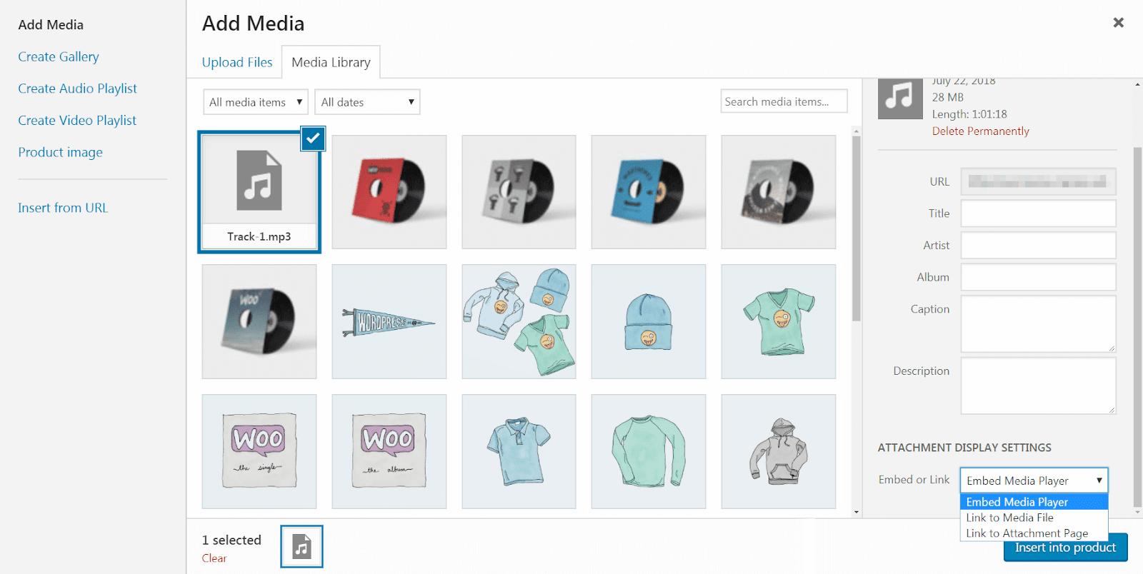 Reproductor multimedia incorporado de WooCommerce