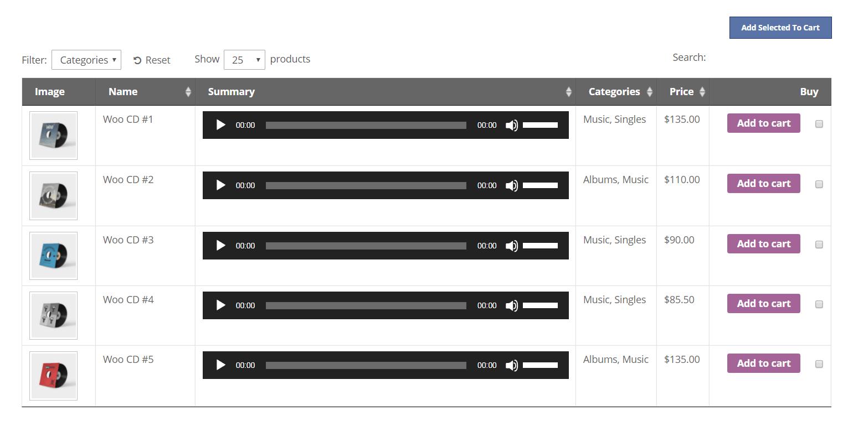 Tabla de audio de WooCommerce