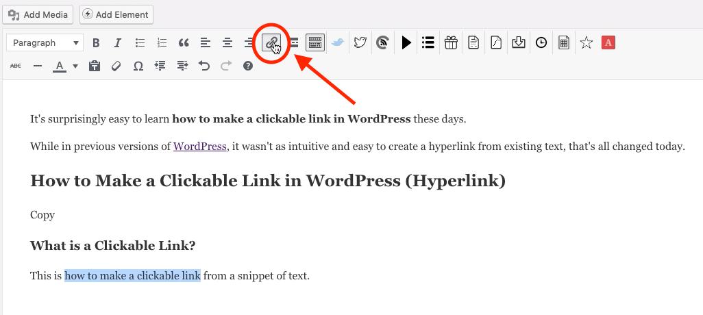 Haga clic en el icono de hipervínculo en WordPress