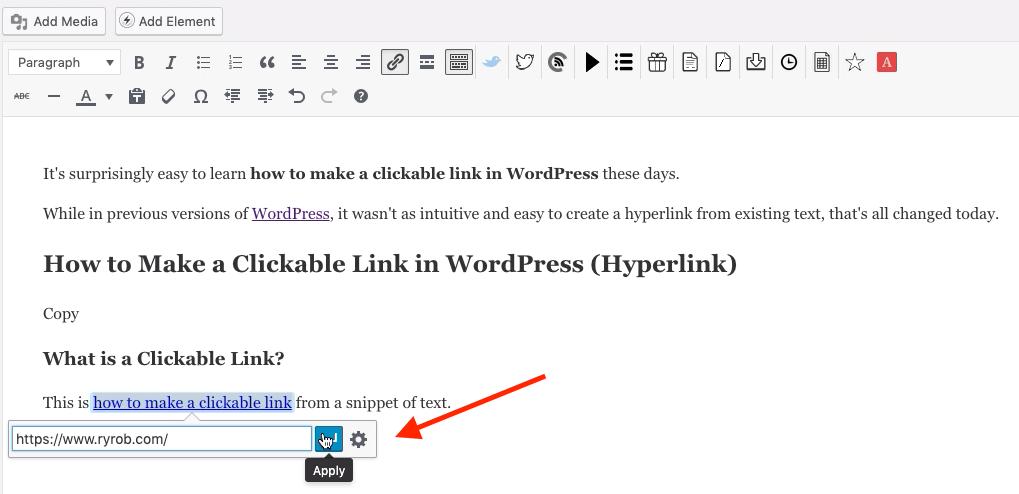 Pegar la URL de destino para hacer un enlace en el que se puede hacer clic